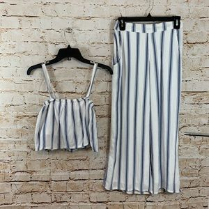 Hollister Blue/White Striped Two Piece Set Small